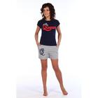 Комплект женский (футболка, шорты) Квин цвет тёмно-синий, р-р 42