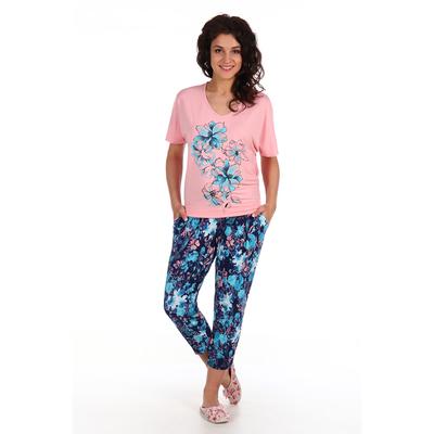Комплект женский (футболка,бриджи) Рафаэлло цвет персиковый, принт цветы, р-р 48   вискоза