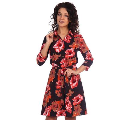 Платье женское Констанция цвет коралловый, принт цветы, р-р 44