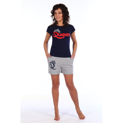 Комплект женский (футболка, шорты) Квин цвет тёмно-синий, р-р 52