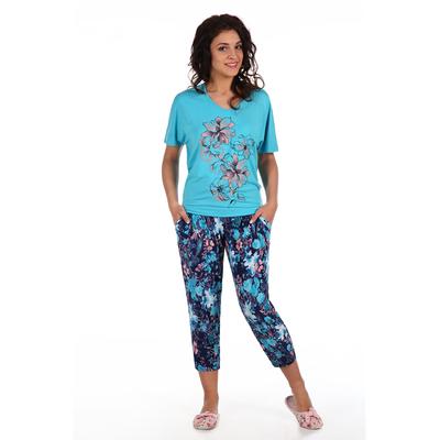 Комплект женский (футболка,бриджи) Рафаэлло цвет ментоловый, принт цветы, р-р 46   вискоза
