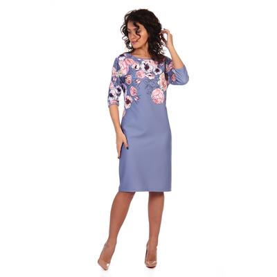 Платье женское Мадлен цвет сиреневый, принт цветы, р-р 52