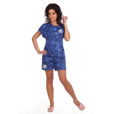 Комплект женский (футболка, шорты) Мальдивы цвет джинс, р-р 48