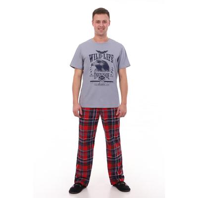 Комплект мужской (футболка, брюки) цвет индиго, красная клетка, р-р 54