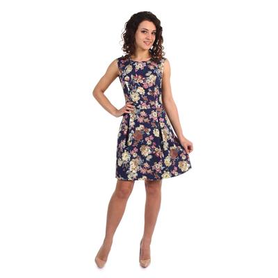 Платье женское Моника принт цветы на тёмном фоне, р-р 44