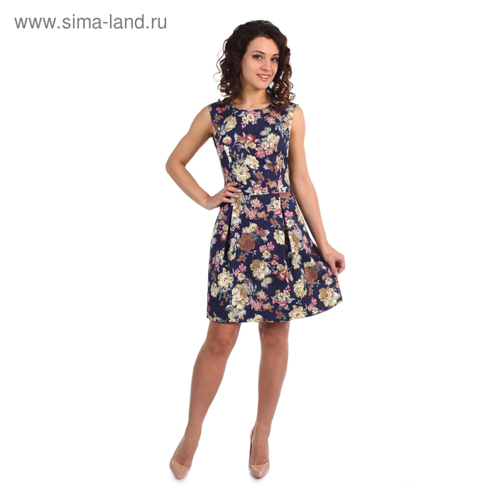Платье женское Моника принт цветы на тёмном фоне, р-р 46