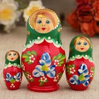 "Matryoshka ""Blue flowers"" earrings, green scarf, 3 doll 9 cm"