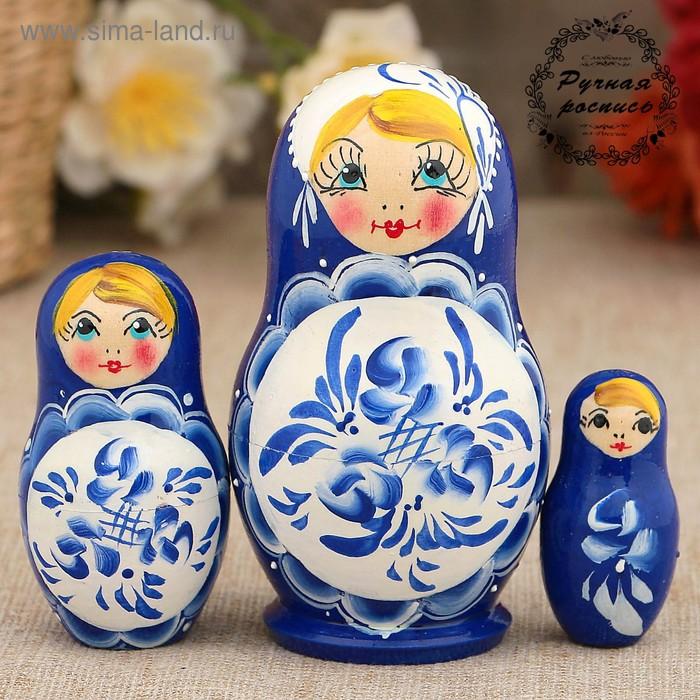 Матрёшка «Поднос гжель», синее платье, 3 кукольная, 9 см