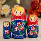 """Matryoshka """"Red flowers"""", a red scarf, 3 doll 9 cm"""