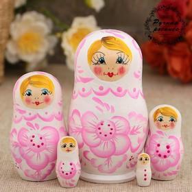 """Matryoshka """"Tenderness"""", light pink dress, puppet 5, 10 cm"""