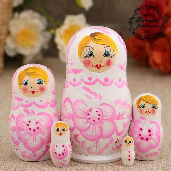 Матрёшка «Нежность»,  светло-розовое платье, 5 кукольная, 10 см