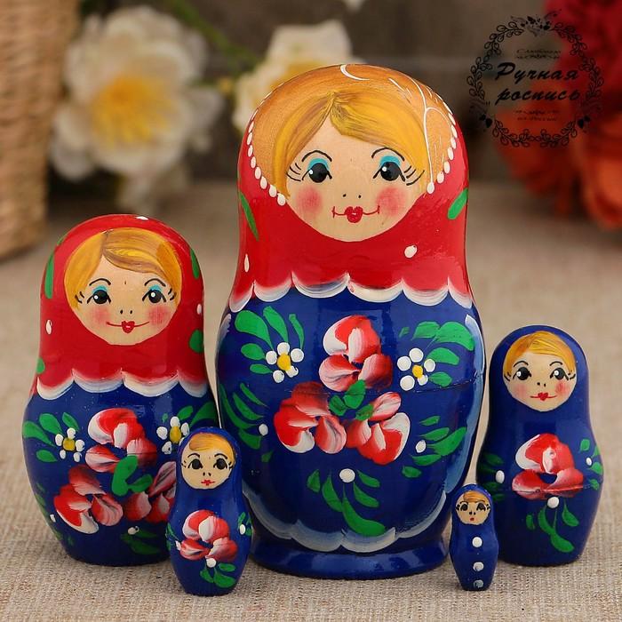 Матрёшка «Красные цветочки», красный платок, 5 кукольная, 10 см - фото 729717349