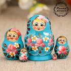 Матрёшка «Цветочки», голубое платье, 5 кукольная, 5 см