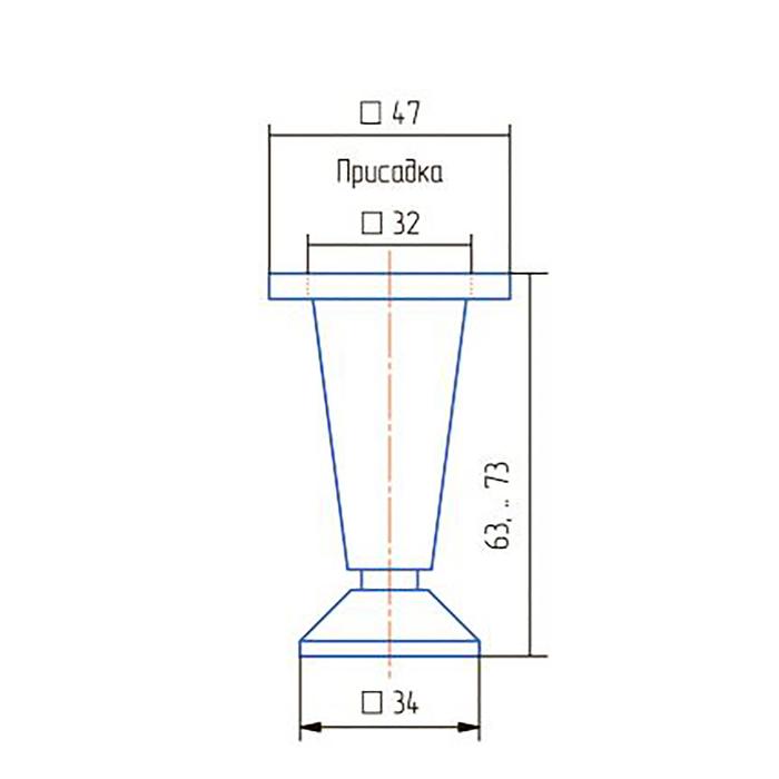 Опора регулируемая, Н=60 мм, цвет хром