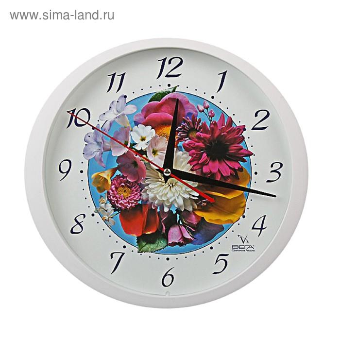 """Часы настенные круглые """"Букет"""", цветы"""