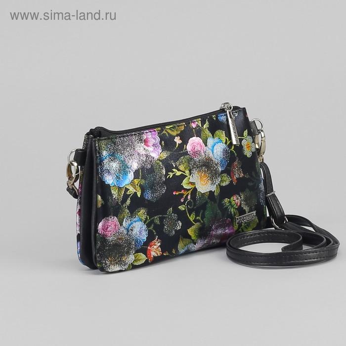 Сумка жен 806.1С, 21*5*13, отдел на молнии, н/карман, длинн ремень, цветы блеск на черном
