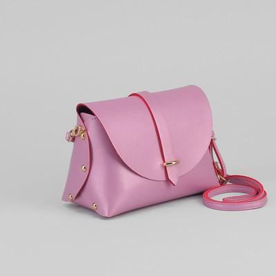 Сумка женская, отдел на хлястике, длинный ремень, цвет тёмно-розовый