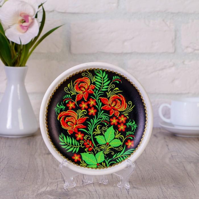 Тарелка декоративная «Цветы», хохлома, с рисунком на холсте, D = 16 см