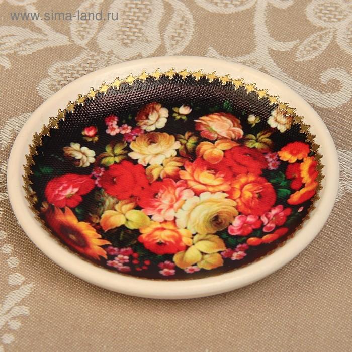 Тарелка декоративная «Жостово», с рисунком на холсте, настенная, D = 11,5 см