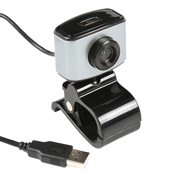 Веб-камера Canyon CNE-CWC, 2, 2 МП, 1600x1200, HD 720p, 360° поворот, черно-серая