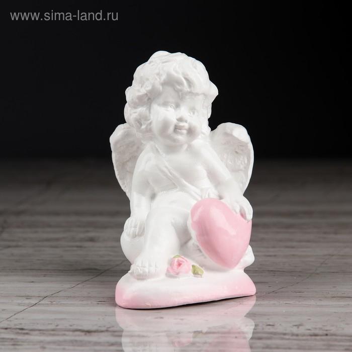 """Статуэтка """"Ангел на сердечке 3"""" с розовой отделкой"""