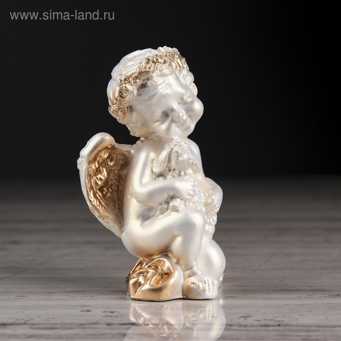 """Статуэтка """"Ангел с барашкой №1"""" перламутр с золотом"""