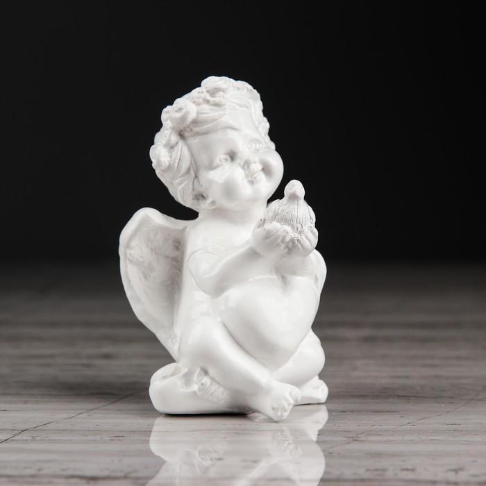 """Статуэтка """"Ангел с голубем"""", цвет белый, 8 см - фото 797970675"""