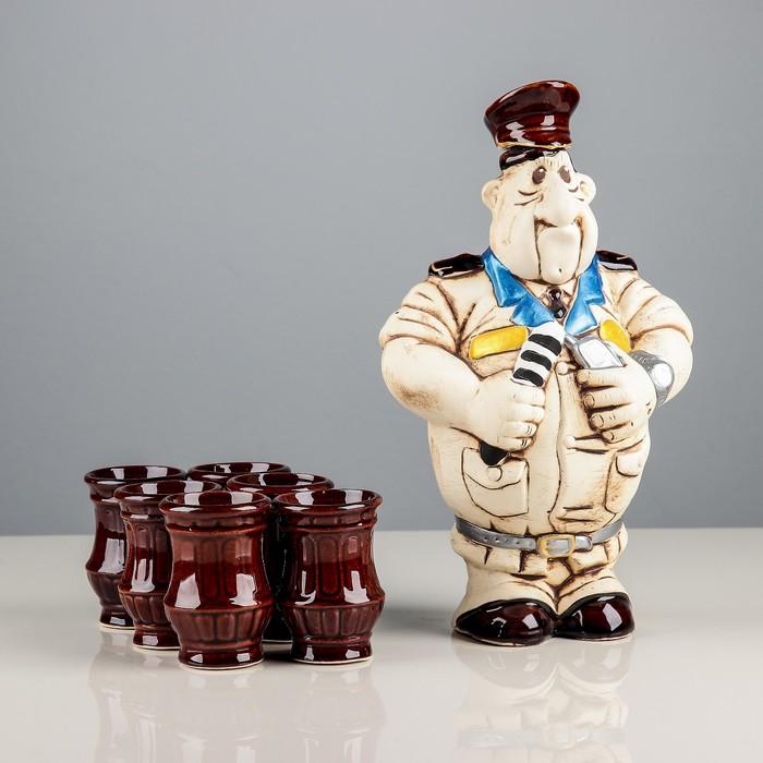 """Набор винный """"Гаишник"""", 7 предметов, штоф 1,35 л, стопки 0,1 л"""