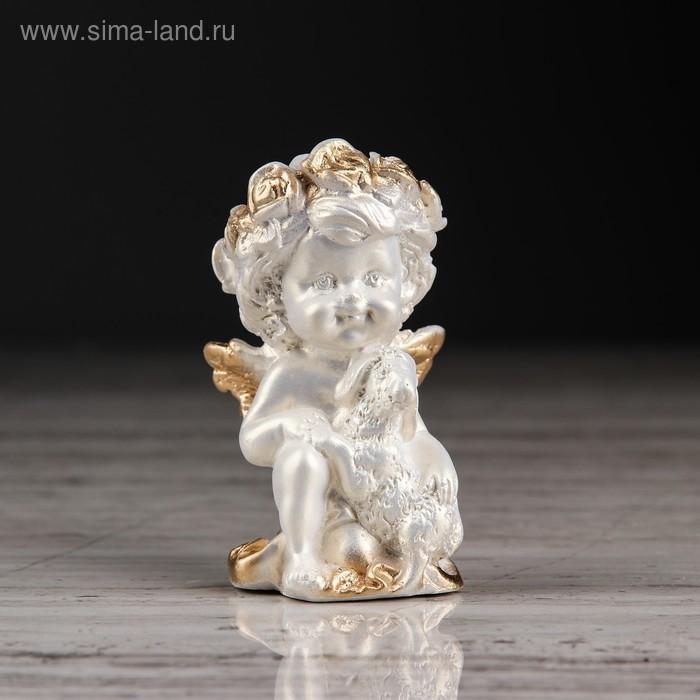 """Статуэтка """"Ангел с барашкой №2"""" перламутр с золотом"""