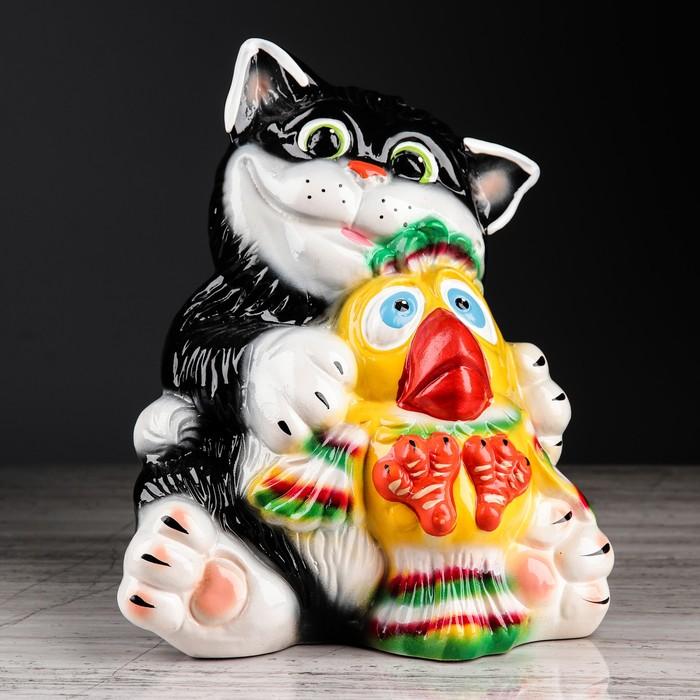 """Копилка """"Кот с птичкой"""", покрытие лак, разноцветная, 24 см"""