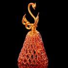 Колокольчик сувенирный «Хрустальный лебедь», ручной работы, оранжево-золотой