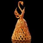 Колокольчик сувенирный «Хрустальный лебедь», ручной работы, золотой