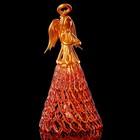 Колокольчик сувенирный «Хрустальный ангел», ручной работы, оранжево-золотой