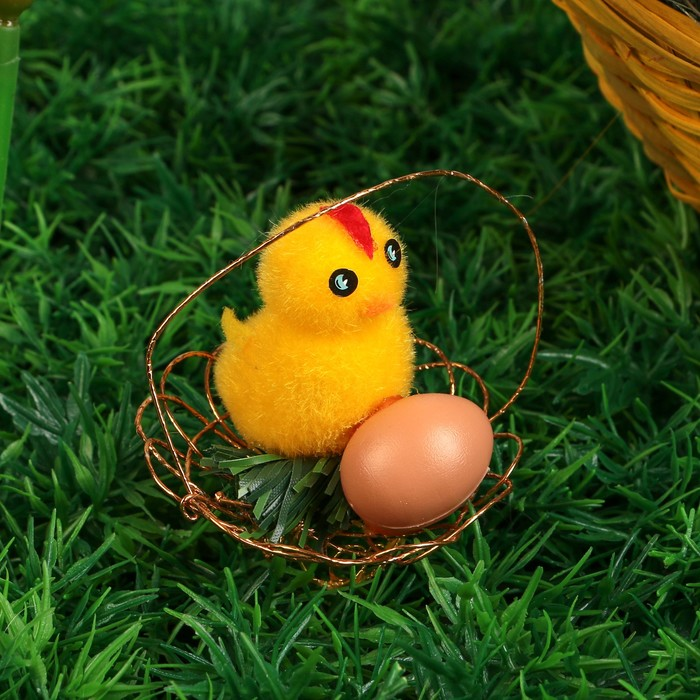 """Сувенир пасхальный """"Цыплёнок с яичком в корзине"""" (набор 12 шт) 5,5х25,5х17 см"""