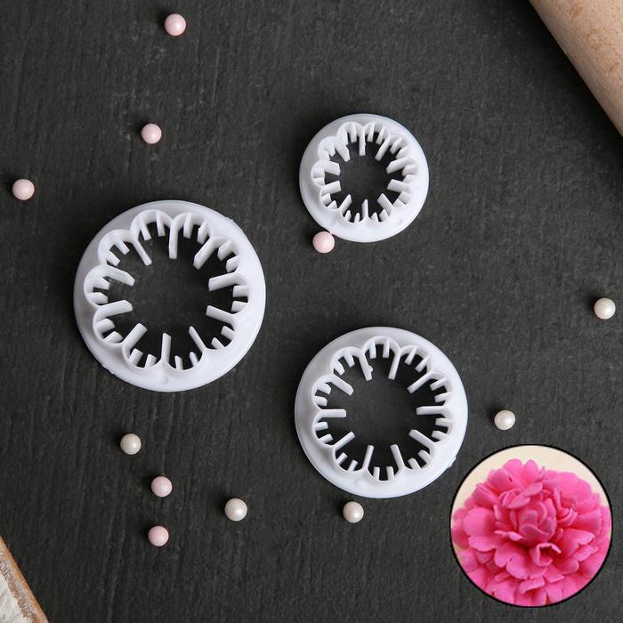 Набор выемок кондитерских «Цветки», 3 шт: 4,7×1,3/4,3×1,1/3,1×1 см - фото 308039890