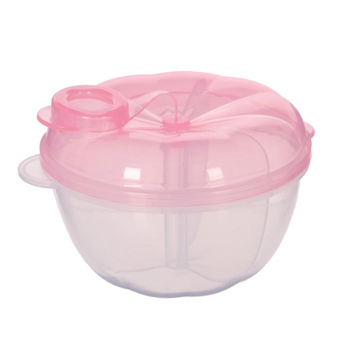Контейнер пищевой для хранения детского питания, дозатор 3 секции, от 0 мес., цвет розовый