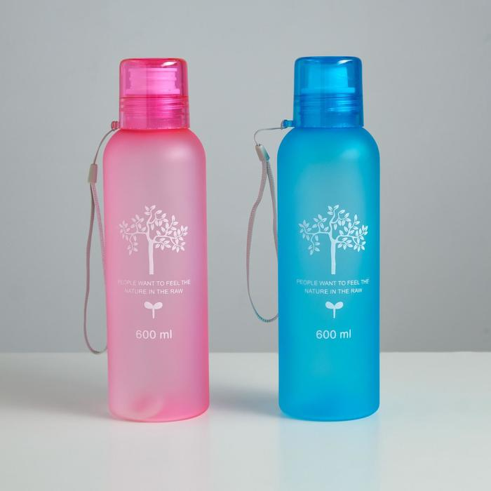 "Бутылка для воды ""Дерево жизни"", 500 мл, спортивная, на шнурке, матовая, микс, 6.5х20.5 см"