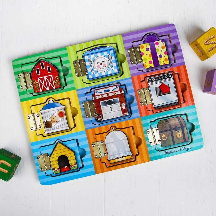 """Бизиборд (игрушечный сундук) """"Прятать и искать"""", с магнитными деталями"""