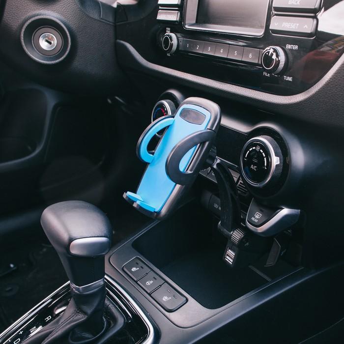Держатель телефона TORSO раздвижной 50-90 мм, в прикуриватель с 2 USB, МИКС