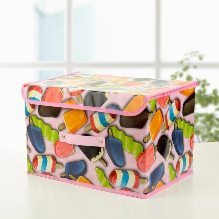 """Короб для хранения с крышкой 38×25×23 см """"Эскимо"""", цвет розовый"""
