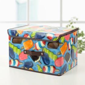 """Короб для хранения с крышкой 38×25×23 см """"Эскимо"""", цвет синий"""