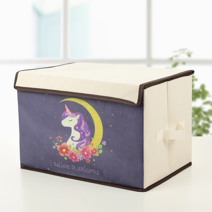 Короб для хранения с крышкой «Единорог», 39×25×25 см - фото 305465119