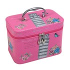 "Шкатулка кожзам с зеркалом чемодан ""Пизанская башня на розовом"" 17х23х15,5 см"