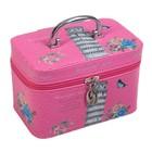 "Шкатулка кожзам с зеркалом чемодан ""Пизанская башня на розовом"" 14х21х13 см"