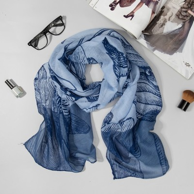 "Парео Этель ""Жасмин"" 60 х 180 см, цвет синий, 100 % вискоза"