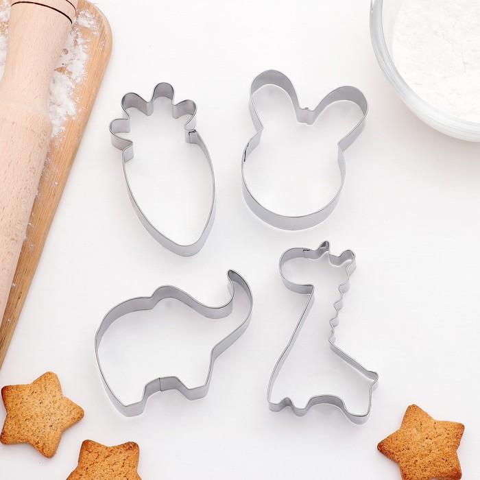 """Набор форм для вырезания печенья """"Заяц,слон,жираф,морковь"""", 4 шт, 6x7 см - фото 308033784"""