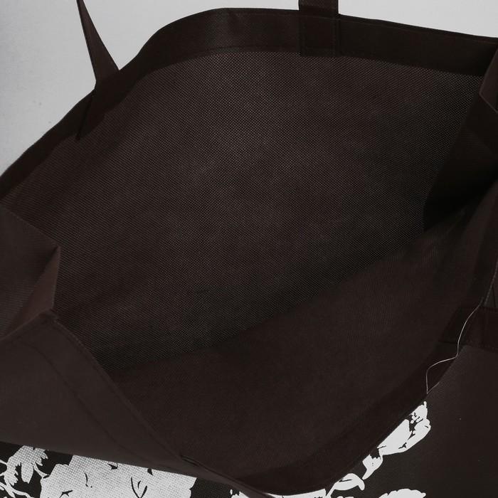 Сумка хозяйственная «Цветочки», отдел без молнии, цвет коричневый