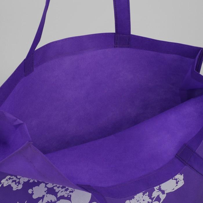 Сумка хозяйственная «Цветочки», отдел без молнии, цвет фиолетовый