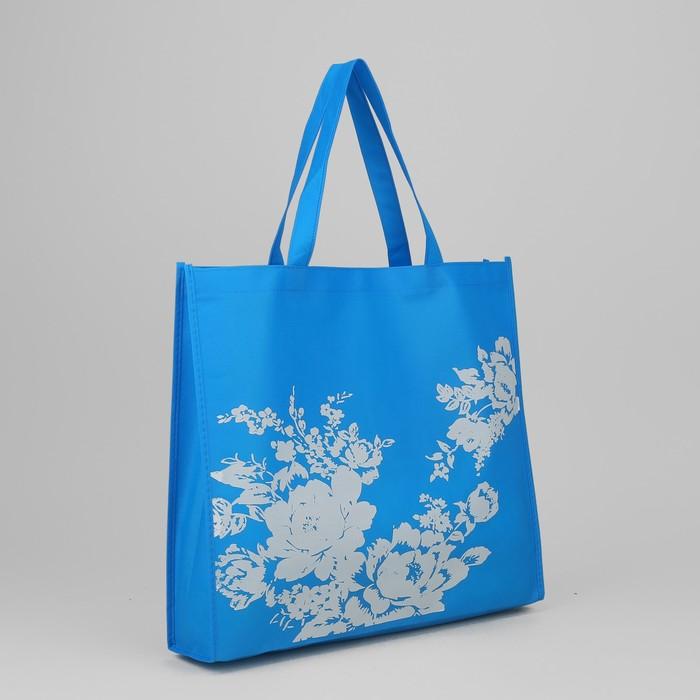 Сумка хозяйственная «Цветочки», отдел без молнии, цвет синий