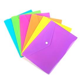 Папка на кнопке, формат А5 180 мкр, рефлённая, флуоресцентная, МИКС, CALLIGRATA